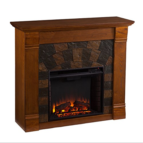SEI Furniture Elkmont Earth Tone Tile Electric Fireplace, Salem Antique Oak