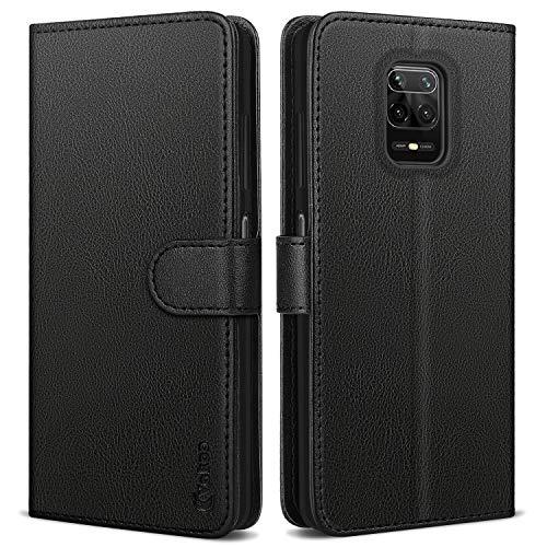 Vakoo Wallet Serie Handyhülle für Xiaomi Redmi Note 9S Hülle, Xiaomi Redmi Note 9 Pro Hülle, Schwarz