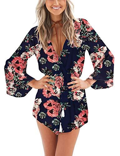 Relipop Women's Fashion Floral Print Long Sleeves Short Romper Playsuit Jumpsuit (Medium, T1)