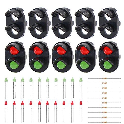 Evemodel 10 STK. Signale LED rot/grün DIY Ampeln Spur N / Z Modell Eisenbahn Mini Garten Dekor