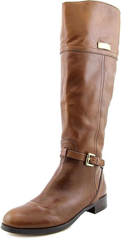 COACH Micha Round Toe Leather Knee High Boot Cinnamon