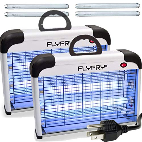 FLYFRY Bug Zapper Indoor 20w 2800v, Electric Insect Fly Killer Mosquito Pest Lamp Electrocutor for Mosquitoes Flies Insects Bugs Gnats Moths Wasps Hornets, Extra UV Bulbs (Bundle of 2)
