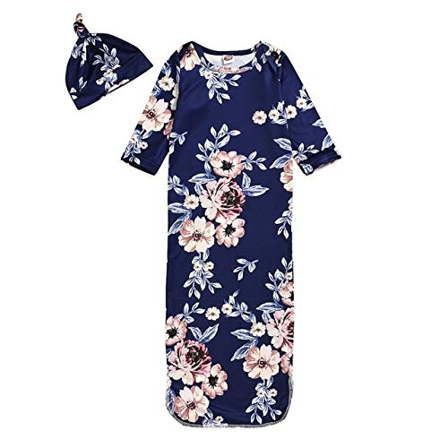 Gxdsya Bébé Sac De Couchage + Chapeau Floral Floral Infantile Pyjamas Bébé Costume Pyjama Nouveau-Né Pyjama Robe Couverture