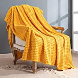 Topfinel Flannel Yellow Throw Blanket Corn Lightweight 50 x 60 Warm Blanket for Chair Couch Bed