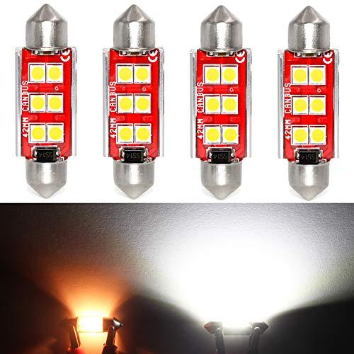 Phinlion Super Bright 500 Lumens 578 LED Bulb 3030 6-SMD Festoon 41mm 42mm 211-2 212-2 Bulbs for Car Interior Map Dome Reading Trunk Courtesy Light, 6000K Xenon White (4 Pack)