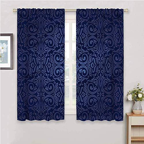 DIMICA All Season Insulation indigo blue floral old design for Bedroom Kindergarten Living Room W108 x L84 Inch