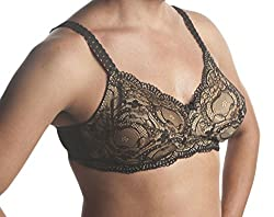 Crossdressers lace bra that holds silicone boops in place.