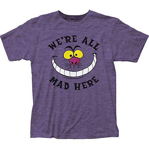 Camiseta justa Alice no País das Maravilhas All Mad Here, Roxo mesclado, S