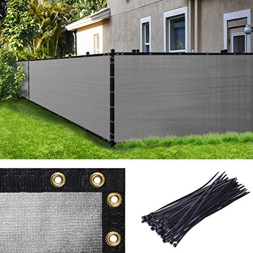 Amgo 4' x 50' Grey Fence Privacy Screen Windscreen,with Bindings & Grommets, Heavy Duty for Commercial and Residential, 90% Blockage, Cable Zip Ties Included, (Available for Custom Sizes)