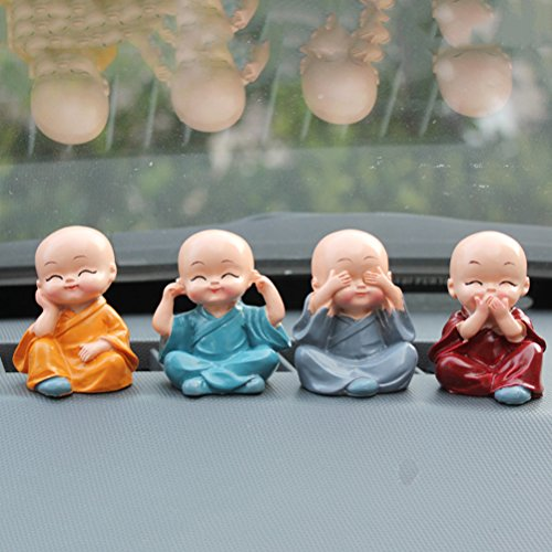 CoscosX 1 Set Creative Cute Kongfu Monk Buddha Resin Craft Dashboard Decorations Car Home Office Ornaments Auto Supplies Decorative Accessories
