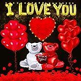 Set de 39 Piezas Globos de San Valentín con Pétalo Rosa de Tela, 1000 Pétalos de Rosa Roja con Luces LED de Cadena de Noche Romantica, Globos de Papel Aluminio de I Love You y Oso
