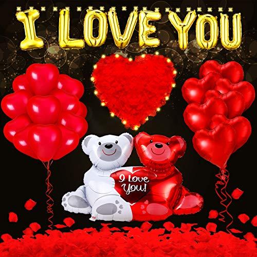 39 Stück Valentinstag Luftballons und Stoff Rosenblüten-Set 1000 rote Rosenblüten mit LED Lichterkette für romantische Nacht, I Love You und Teddybär Ballon Folie Valentinstag Party Dekorationen Kit
