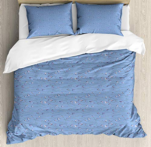 Scott397House Artwork King Bedding Duvet Cover 3 Piece, Polygonal Roses Flowers with Mini Dots, Soft Bedding Protects Comforter with 1 Comforter Cover And 2 Pillow Case, Ceil Blue Lavender Blue