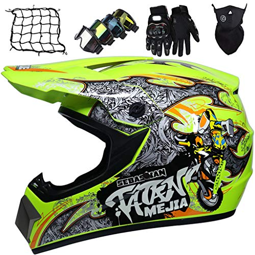Casco Motocross Niños, Casco MTB Integral, Casco Carrera Resistencia Moto Campo Traviesa, para Bicicleta Downhill ATV BMX, con Gafas/Guantes/Máscaras/Red elástica, Amarillo