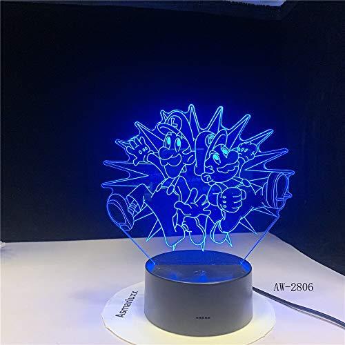 Super Mario Bros Luigi Kröte Drache Super Kinderzimmer Nachtlicht 3D LED USB Tischlampe Kinder Geburtstagsgeschenk Nachtzimmer Dekoration