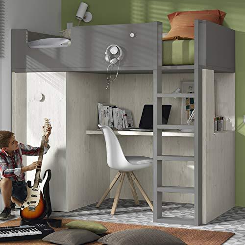 ROS Hochbett mit Schreibtisch und Schrank – 181,1 x 203,8 x 115,6 cm (Eiche/Tongrau, Leiter rechts)