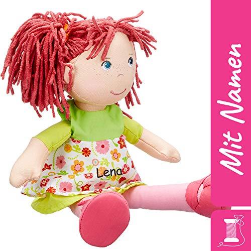 HABA Stoffpuppe Liese mit Namen Bestickt, weiche Erste Baby Puppe mit Kleidung und Haaren, 0-5 Jahre Kuschelpuppe Taufgeschenk, Anziehpuppe Kuschelpuppe 302110