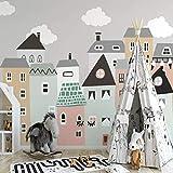 Fotomurales Pueblo De Casas De Dibujos Animados Para Niños Fotomural Para Paredes Mural Vinilo Decorativo Decoración Comedores, Salones,Habitaciones-200x150 cm