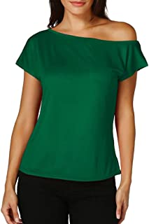 3776d184054 Anxinke Women Solid Color One Shoulder Short Sleeve Casual T Shirts