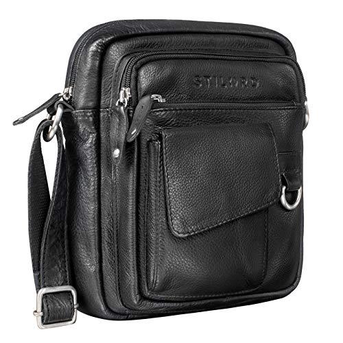 STILORD 'Ryan' Messenger Bag Uomo Pelle Borsa a Tracolla Vintage Leather Borsetta Piccola Elegante Borsello Vintage per iPad da 9.7 Pollici Cuoio, Colore:nero