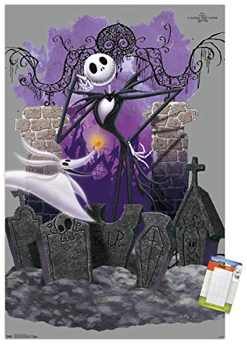 Trends International Disney Tim Burton's The Nightmare Before Christmas - Jack and Zero Wall Poster, 22.375' x 34', Poster & Mount Bundle