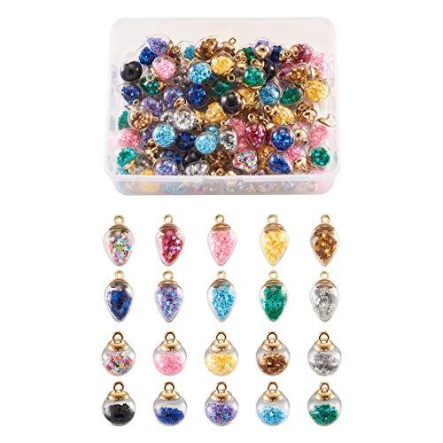 Craftdady 100 colgantes con forma de lágrima redonda de cristal transparente con forma de globo hueco, con cuentas coloridas en el interior para pendientes, pulseras, bisutería.