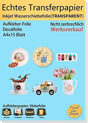 TransOurDream ECHTE Inkjet Wasserschiebefolie (TRANSPARENT) A4X15 Blatt,Inkjet Wasser Decal Transferfolie, für Spielzeugmodelle,Nagelkunst,Tassen(Trans-6-15)