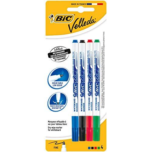 BIC Velleda - Estuche de 4 marcadores de pizarra blanca, punto fino, color negro, azul, roja y verde – rotuladores pizarra blanca surtidos, material escolar, material oficina