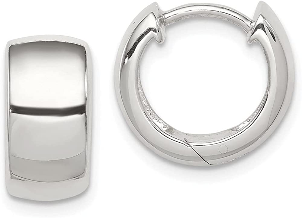 925 Sterling Max 86% OFF Silver Hoop Max 74% OFF Earrings W-7 mm L-11