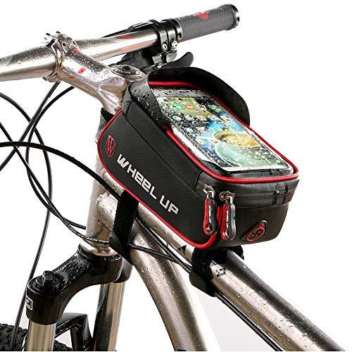 Bolso de Bicicleta, Bicicleta Marco Bolsa Ciclismo Pannier Tubo Superior Bolsas de Manillar Impermeable, Bolsa de Bicicleta Pantalla táctil para teléfono Inteligente por Debajo de 6 Pulgadas