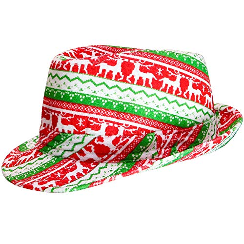 Skeleteen Ugly Sweater Fedora Hat - Funny Christmas Holiday Red and Green Ugly Sweater Party Hat for Adults and Kids