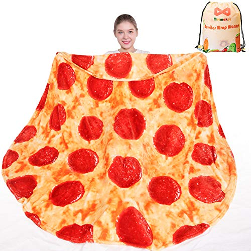 mermaker Pepperoni Pizza Blanket 2.0 Double Sided 71 inch for Adult and Kids, Pizza Blanket Adult Size, Realistic Food Blanket, 285 GSM Soft Pepperoni Blanket, for Teenage Boys and Girls