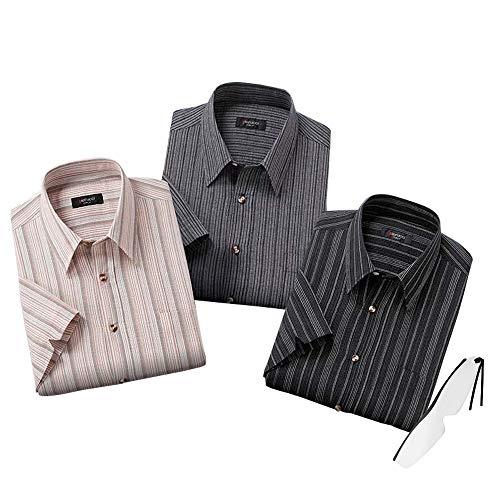 春夏用 pierucci ピエルッチ)綿100% 涼しい しじら織り 7分袖シャツ 3色組(シャツ 半袖 七分袖シャツ 夏用 紳士シャツ)NE-2027 しおりルーペ付き