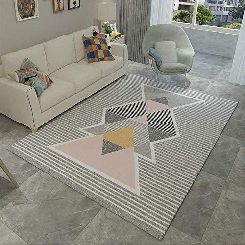 WQ-BBB Alfombras Pie De Cama Recreativo Decoración de Rayas geométricas Negro Blanco Gris Rosa Amarillo Alfombra Salon 160X230cm