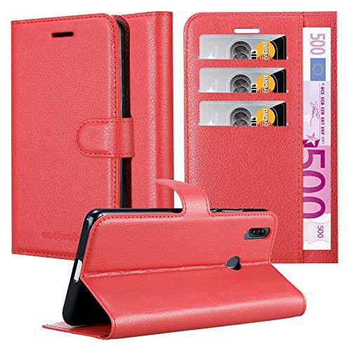 Cadorabo Custodia Libro per ASUS ZenFone Max M2 in Rosso Carminio - con Vani di Carte, Funzione Stand e Chiusura Magnetica - Portafoglio Cover Case Wallet Book Etui Protezione