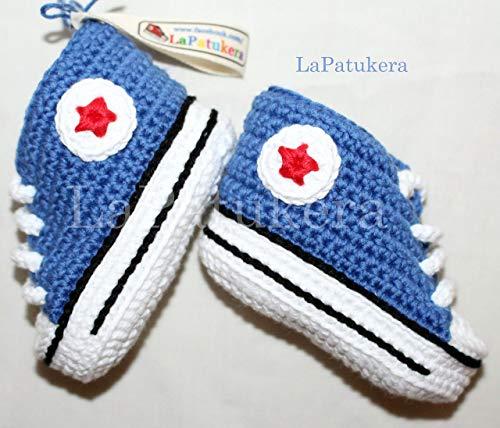 Patucos para bebé de crochet, Unisex. Estilo converse all star, de color azul vaquero,...