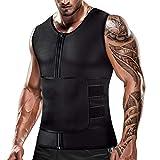Cimkiz Mens Sweat Sauna Vest for Waist Trainer Zipper Neoprene Tank Top, Adjustable Sauna Workout Body Shape Zipper Suit (Small)