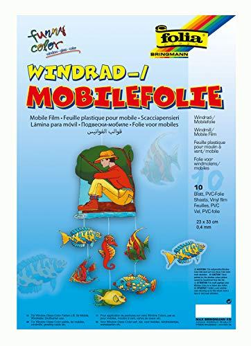 folia 440230 - Mobilefolie, Windradfolie, PVC, transparent, 0,4 mm, 23 x 33 cm, 10 Bogen - zum Basteln von Mobiles oder Windrädern