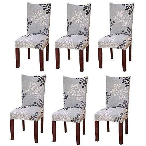 Fuloon Stuhlhussen 6er Set Universal Stretch Stuhlkissen Sessel überzug stuhlbezüge Protector Cover für Weihnachten Haus Esszimmer Moderne Hochzeit Bouquet, Hotel, Restaurant Dekor (6 Stück)