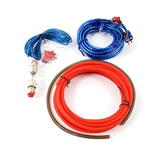 Auto Car Hifi Verstärker Endstufe Kabel Anschlusskabel Komplettsatz zum Anschluss einer Autoendstufe oder eines aktiven Subwoofers, Massekabel, 60 A Sicherung