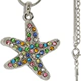 AnsonsImages 22' Necklace Pendant Rhinestone Starfish Multi Color Silver Tone Alloy