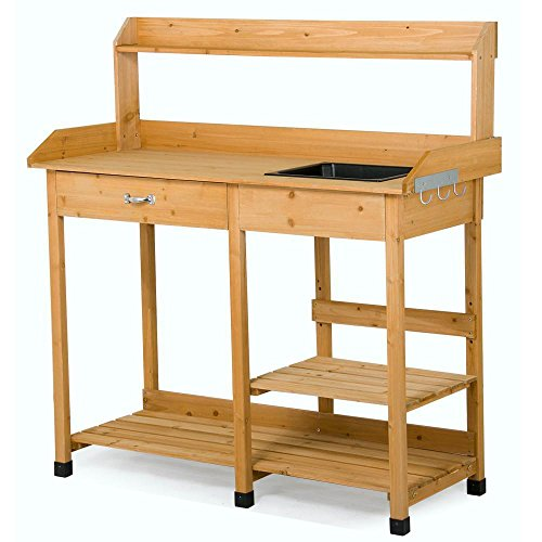 Yaheetech VD-3294OP Outdoor Garden Potting Bench Table Planter Workbench Workstation with, Natural