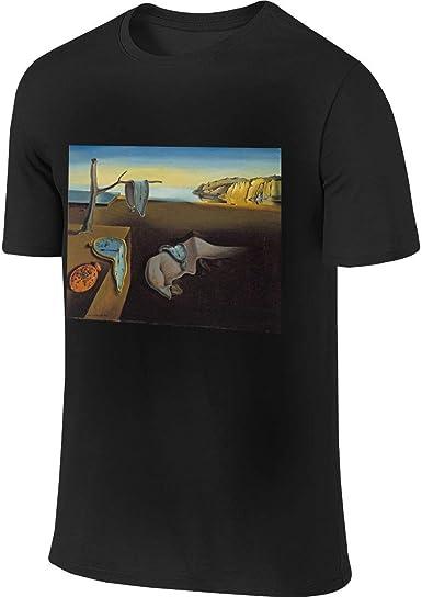 Yobesti Camisas y Camisetas atléticas Top y Blusa, Mens Classic Art Clocks Landscape Melting Painting Salvador Dalí Surreal Cool Black Short Sleeve ...