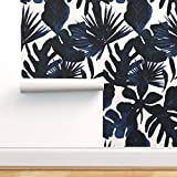 Spoonflower Peel and Stick Removable Wallpaper, Leaves Tropical Baby Jungle Blush Midnight Print,...