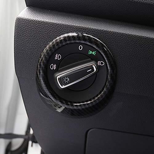 para VW T-Roc 2017-2021 Interior Faro botón Interieur Listones Plástico ABS 1 Piezas (Color de fibra de carbono)