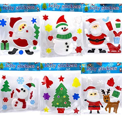 YUESUO 6 piezas de pegatinas de gel de Navidad para ventanas de vacaciones, pegatinas de Navidad, árbol de Papá Noel, regalos de...
