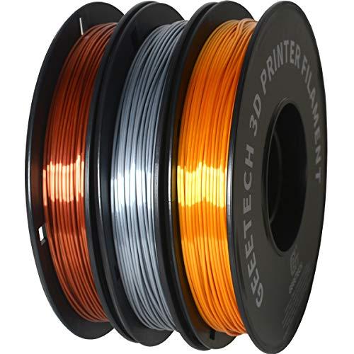 DERUC GEEETECH Silk Filamento PLA 1,75 mm para impresora 3D, filamento PLA, 0,5 kg por bobina, 3 bobinas (dorado + plata + cobre)