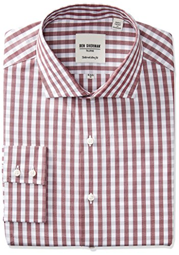 Ben Sherman Men's Slim Fit Exploded Gingham Spread Collar Dress Shirt, Wine/Grey, 17.5' Neck 36'-37' Sleeve