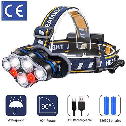 YONHAI 7 LED Stirnlampe USB Aufladbar mit SOS Rotlicht, Super Hell Leicht Wasserdicht Kopflampe, 8 Modi Perfekt für Camping, Fischen, Keller, Laufen, Joggen, Wandern, Lesen, Arbeiten