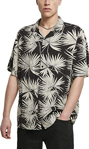 Urban Classics Herren Resort Hawaii-Hemd T-Shirt, Black/Frond, XXL
